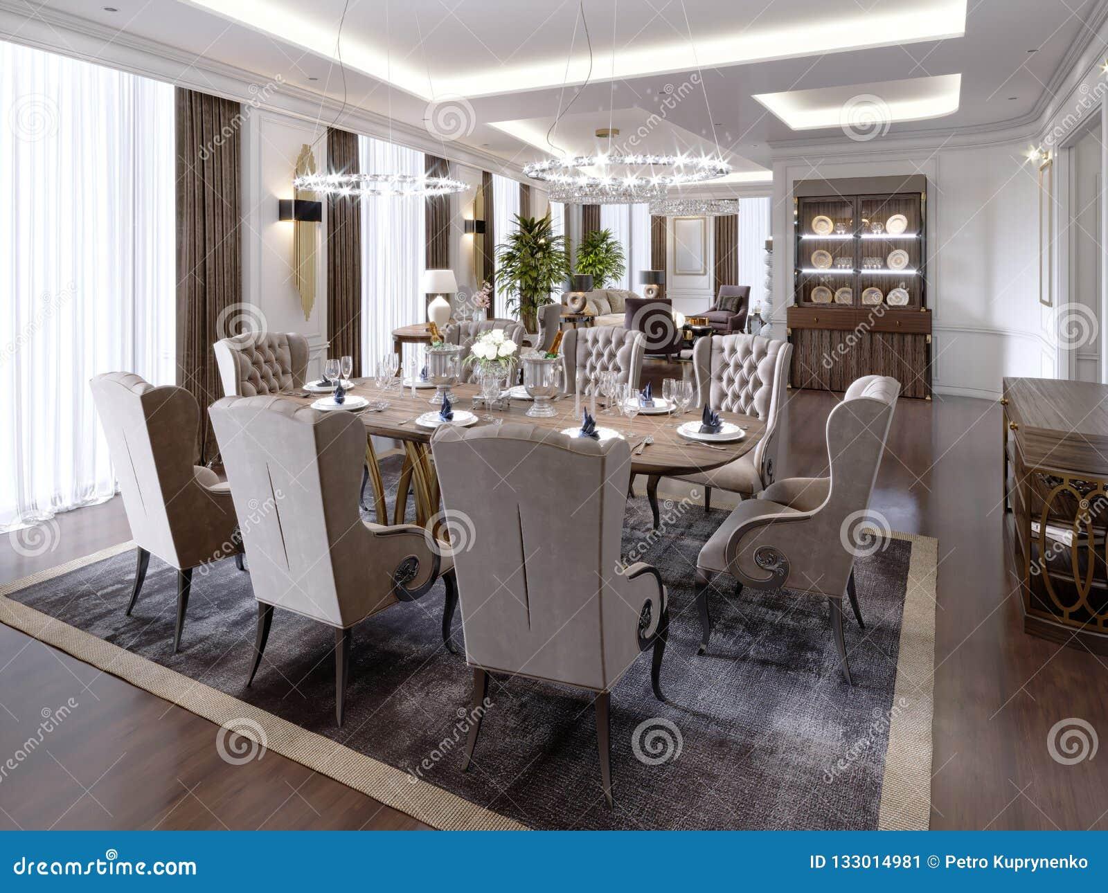 Rideaux Pour Salle A Manger Moderne une chambre d'hôtel avec un salon et une salle à manger et