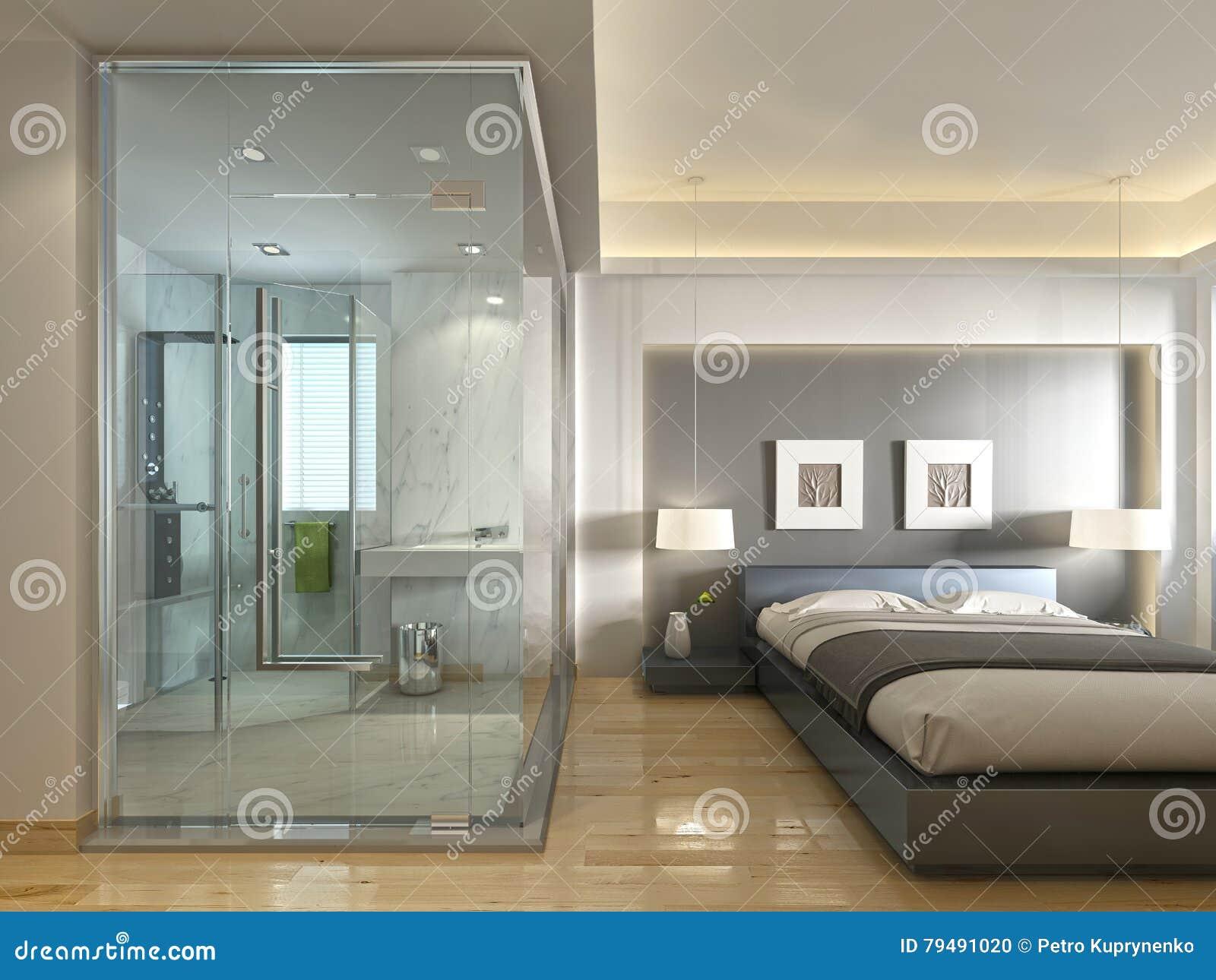 une chambre d 39 h tel de luxe dans une conception contemporaine avec la salle de bains en verre. Black Bedroom Furniture Sets. Home Design Ideas