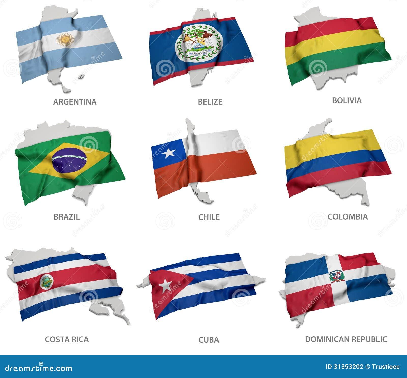 Une collection des drapeaux couvrant la correspondance forme de quelques états sud-américains