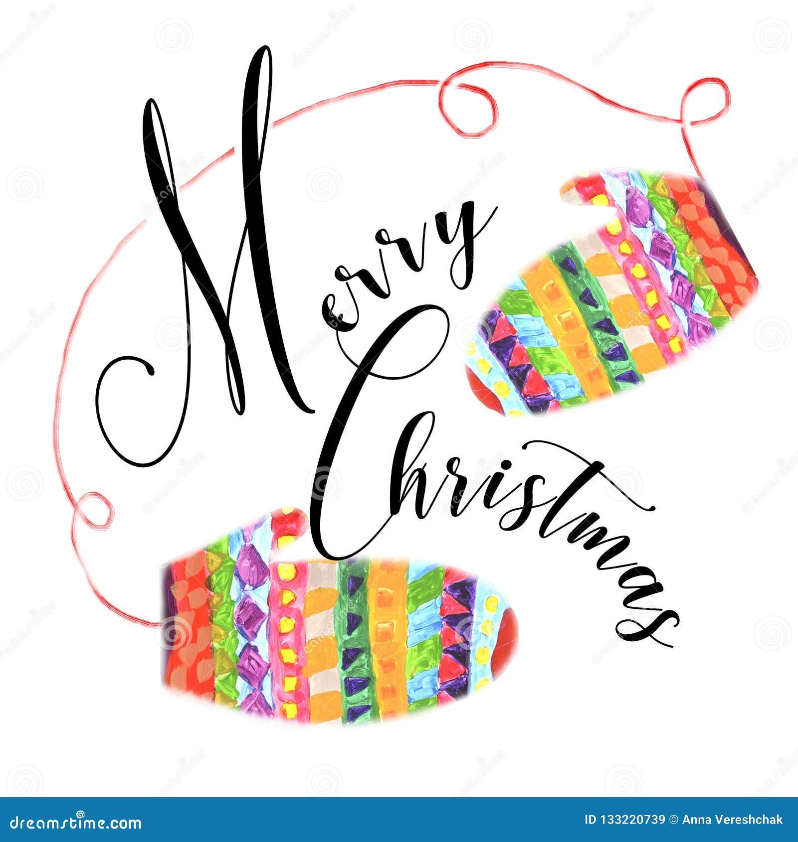 Une composition comportant le Joyeux Noël et les gants lumineux d hiver