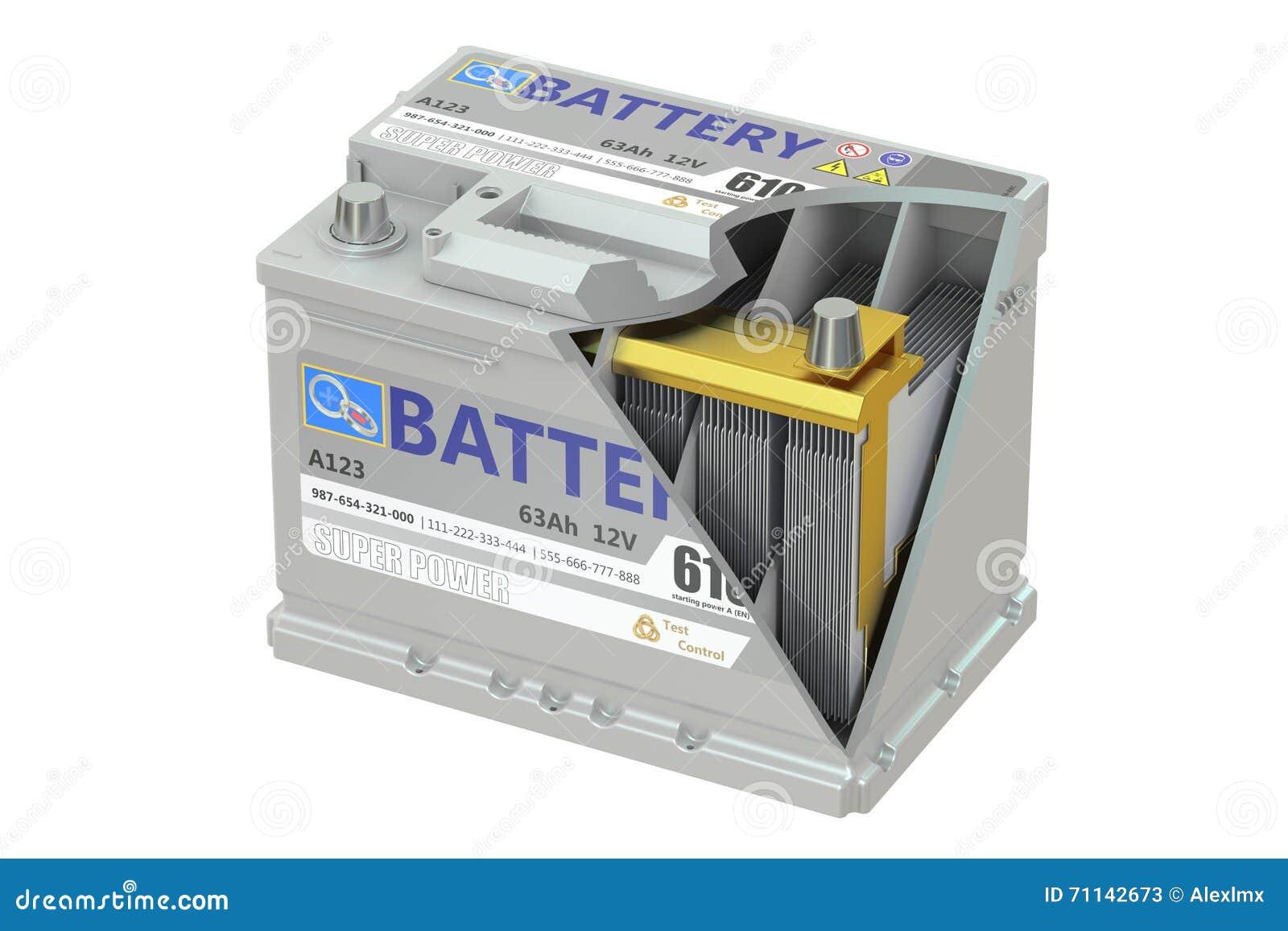 une coupe d 39 une batterie de voiture rendu 3d illustration stock image 71142673. Black Bedroom Furniture Sets. Home Design Ideas