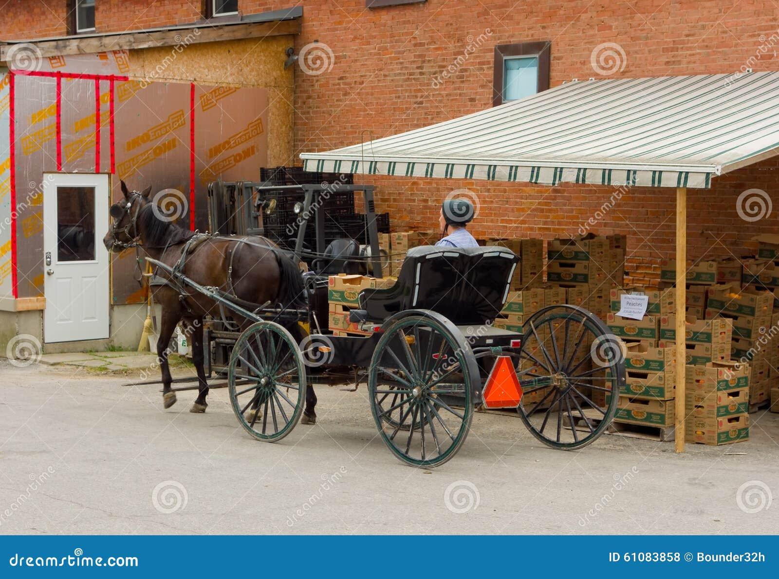 Une dame amish attendant pour acheter le fruit à un magasin dans Ontario
