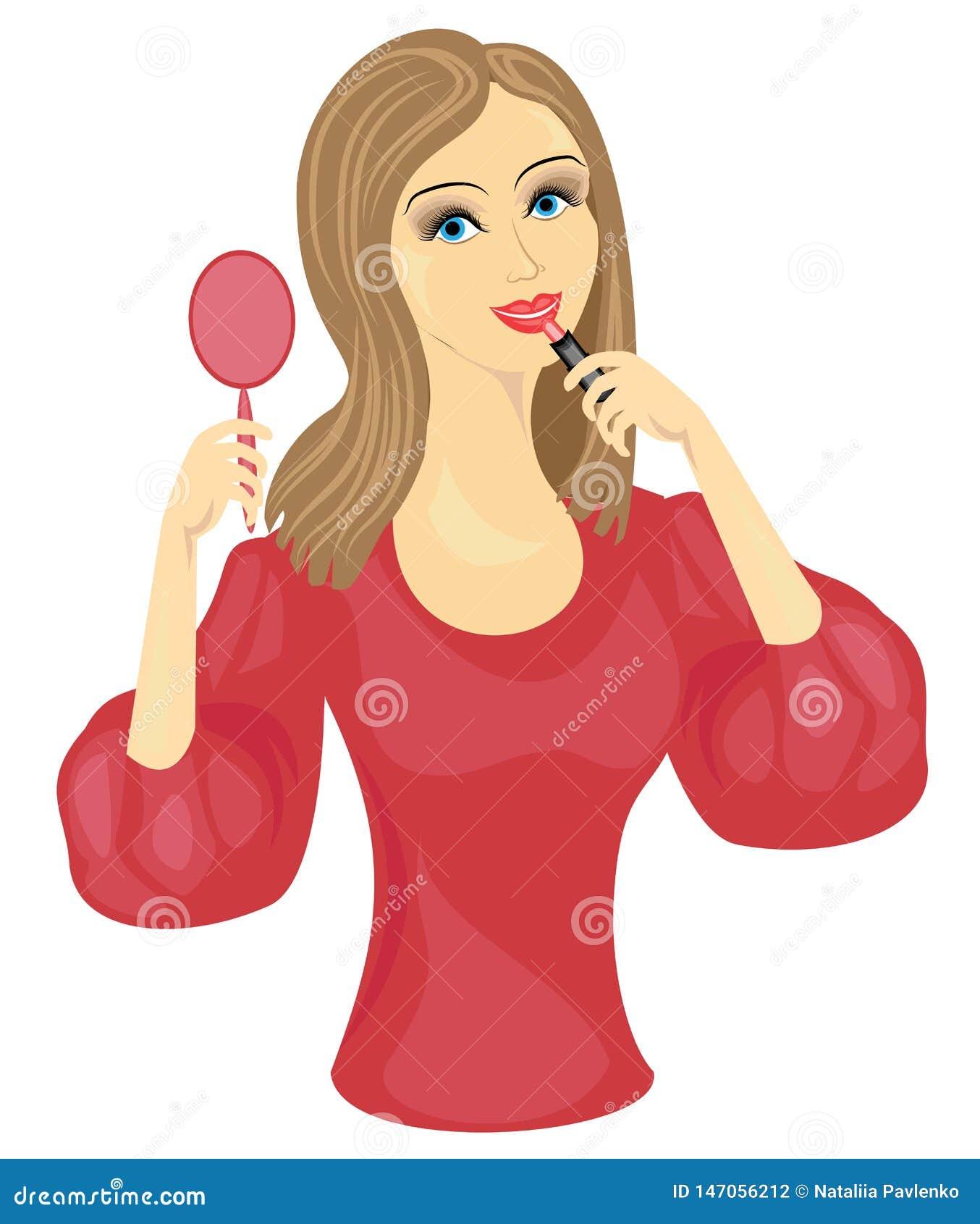 Une dame douce faisant le maquillage La fille peint ses lèvres avec un rouge à lèvres rouge devant le miroir Illustration de vect