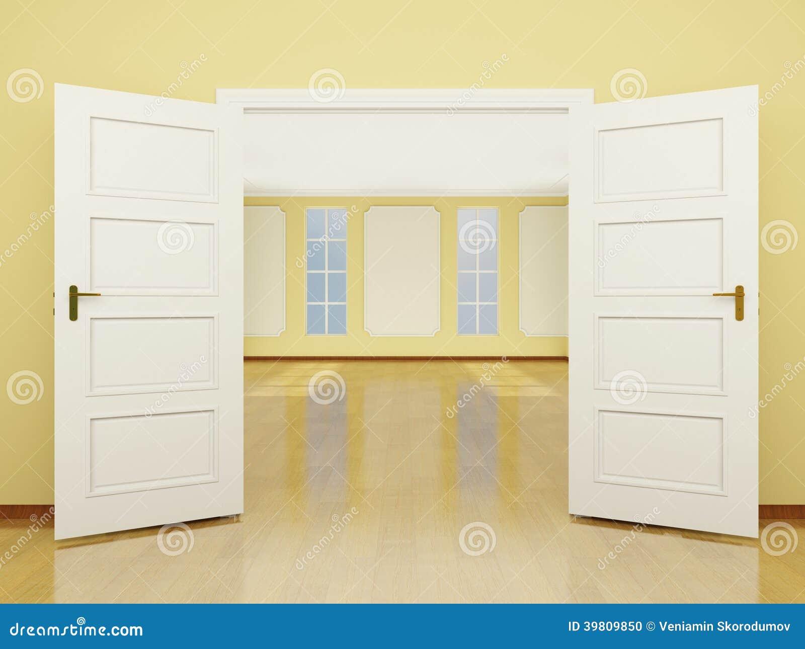 Une entr e grande ouverte de porte au salon dans le style for Meubler une grande porte