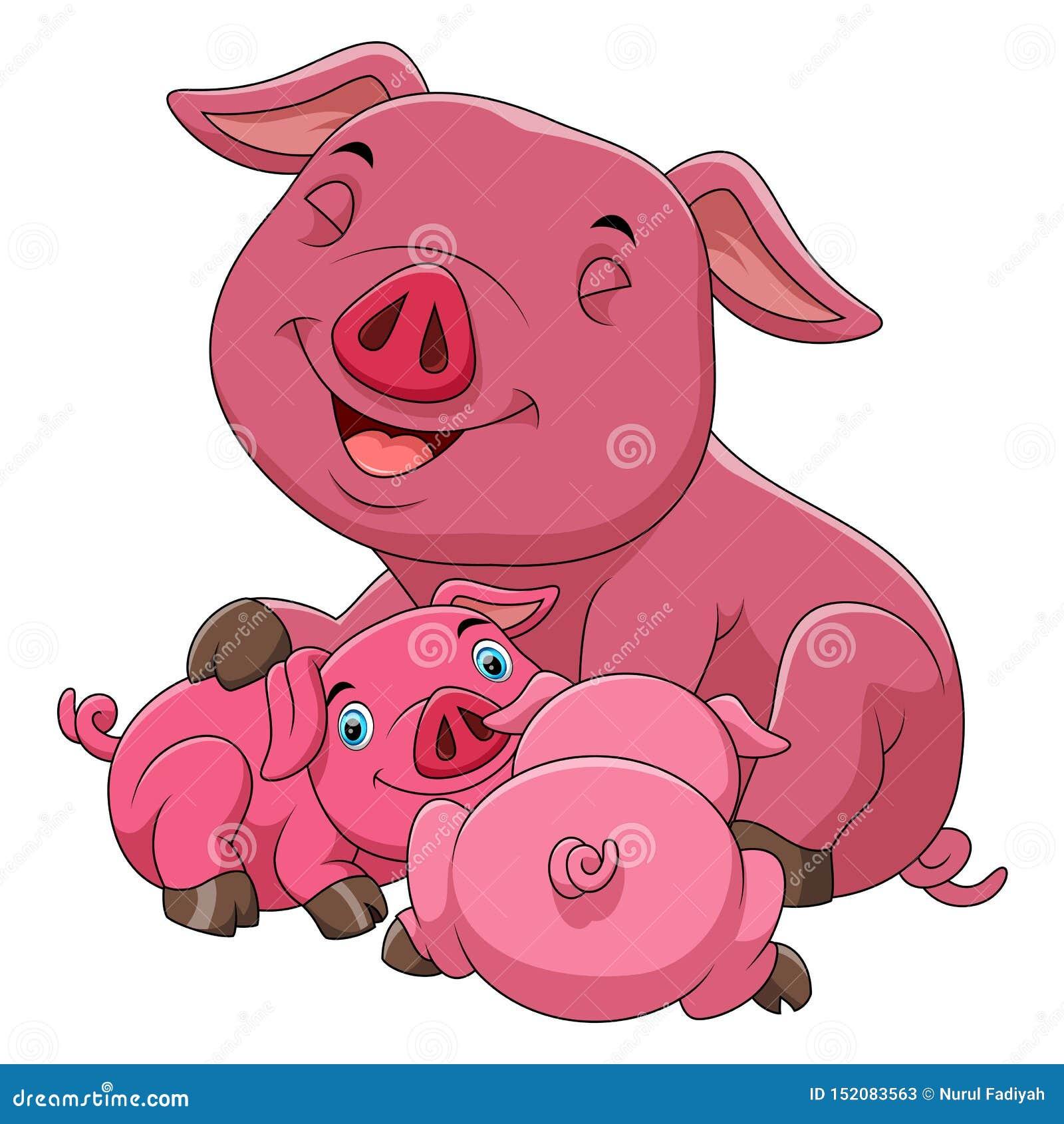 Une famille heureuse de porc de bande dessinée