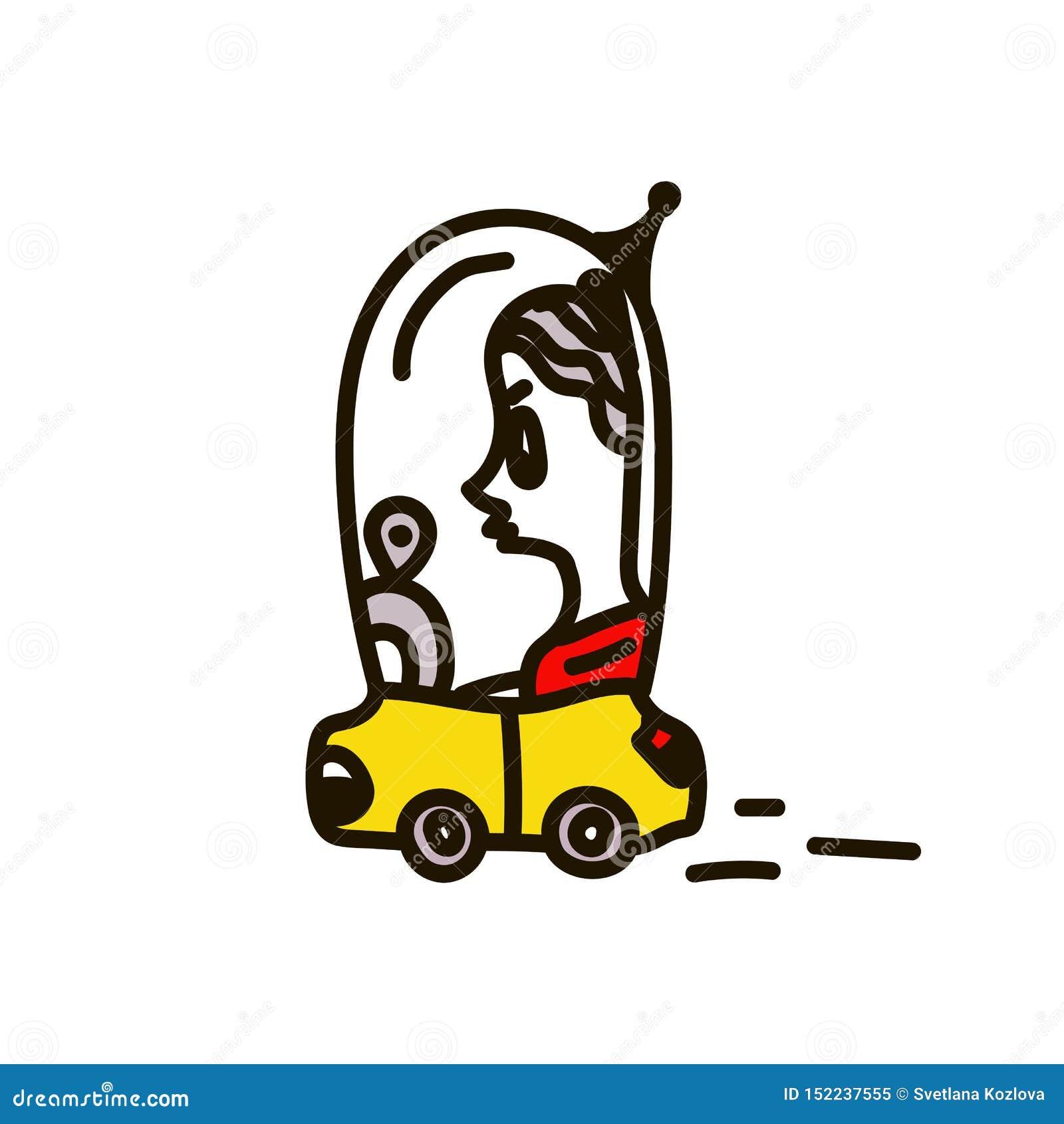 Une femme conduisant une voiture Illustration de vecteur du concept de la vie humaine, dans la vie quotidienne de l avenir, appar