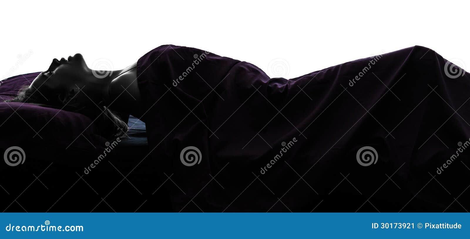 Femme se masturbant en silhouette de lit image stock for Se balader dans les yvelines