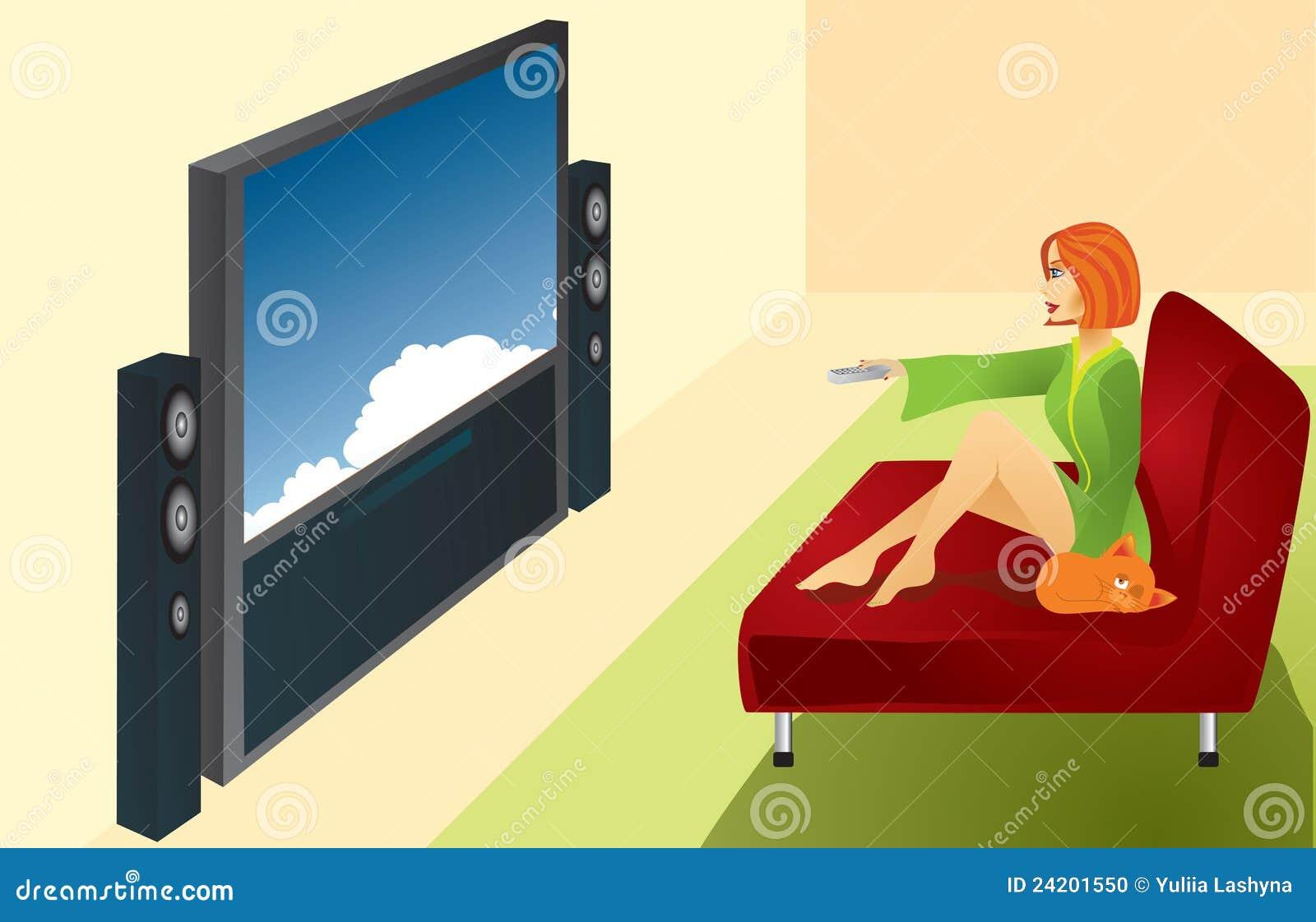 une femme regarde la tv photo stock image 24201550. Black Bedroom Furniture Sets. Home Design Ideas