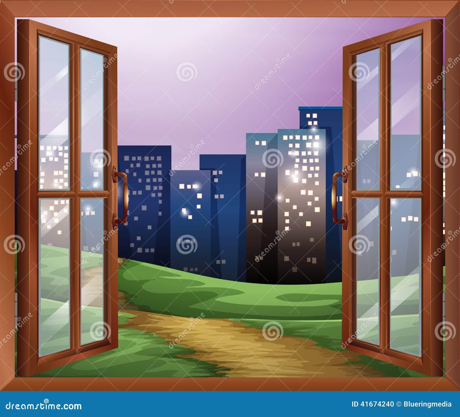 Une Fenêtre Avec Vue Sur Les édifices Hauts Illustration De Vecteur