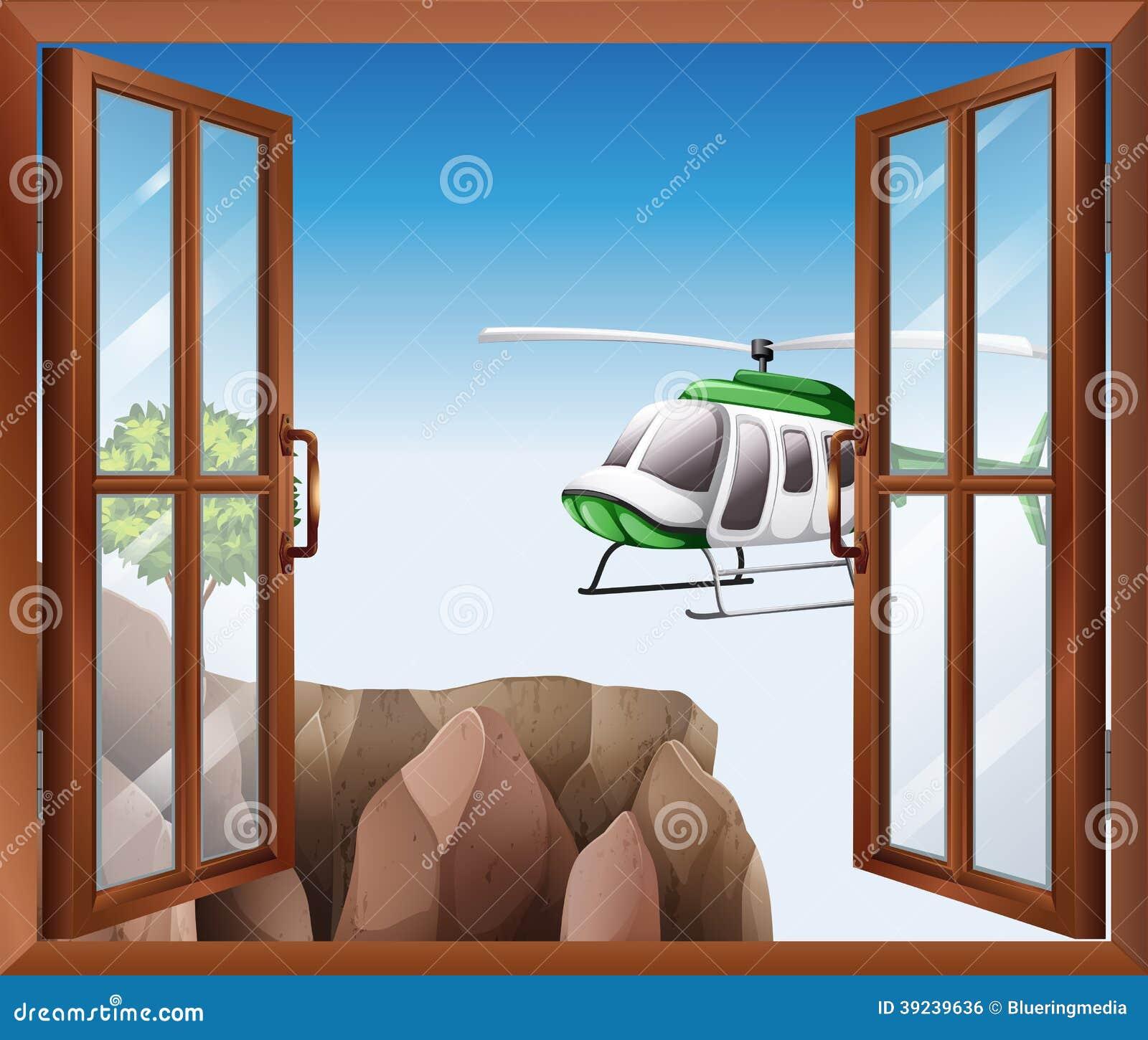 Une Fenêtre Ouverte Avec Vue Sur Le Couperet Illustration De Vecteur