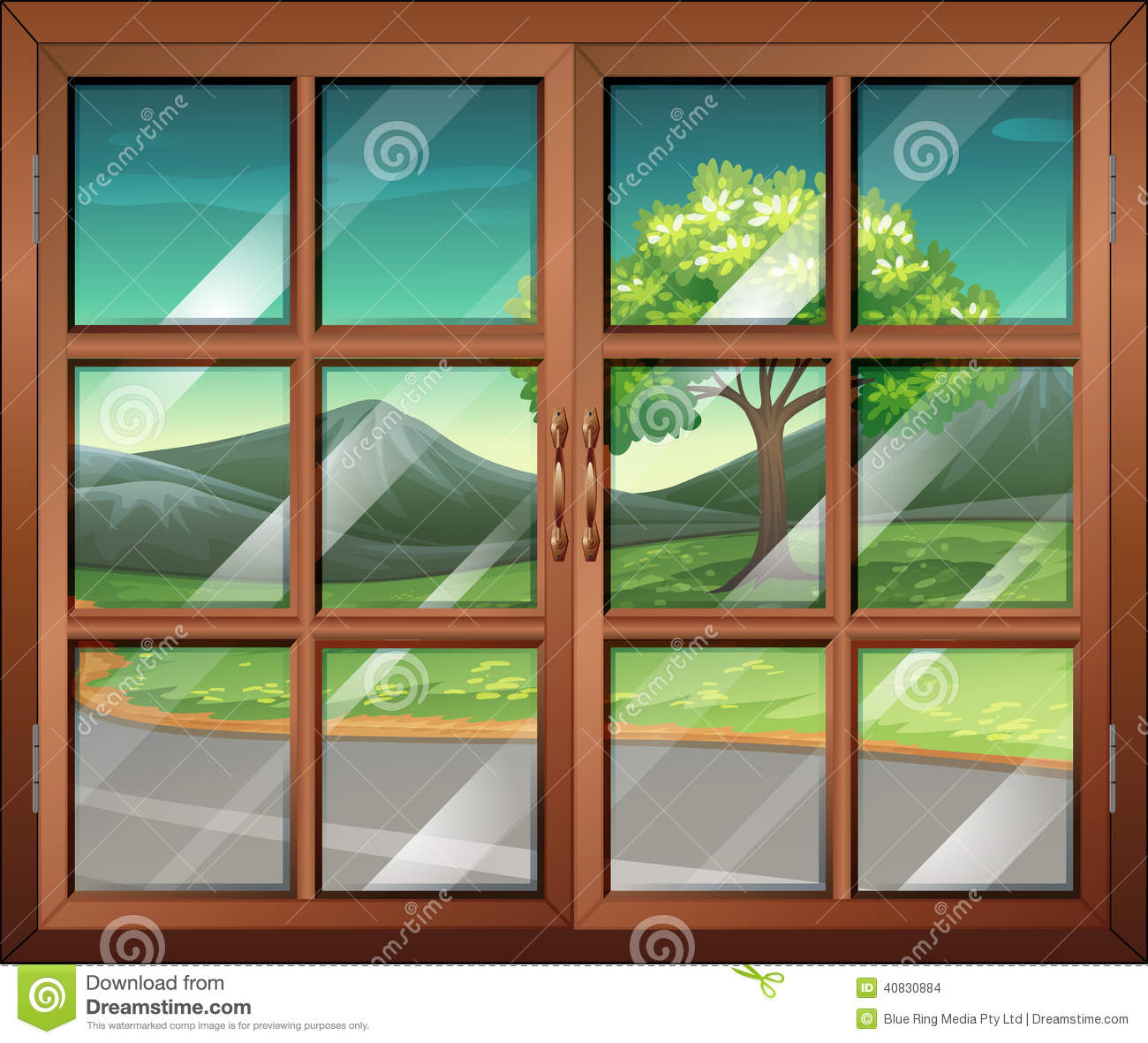 Une fen tre ferm e avec vue sur la route illustration de for Fenetre windows