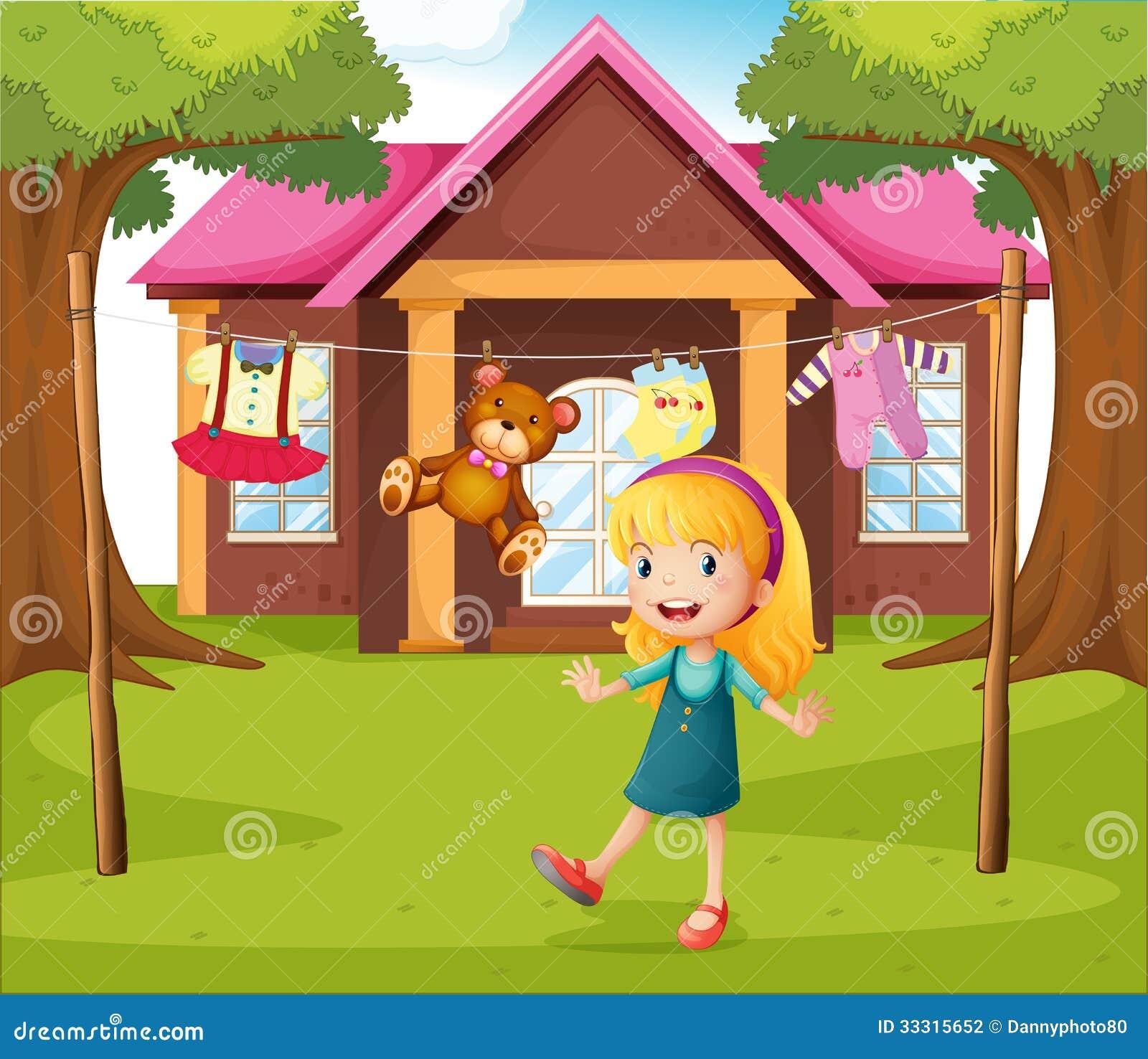 une fille devant leur maison illustration de vecteur illustration du mignon clothesline 33315652. Black Bedroom Furniture Sets. Home Design Ideas