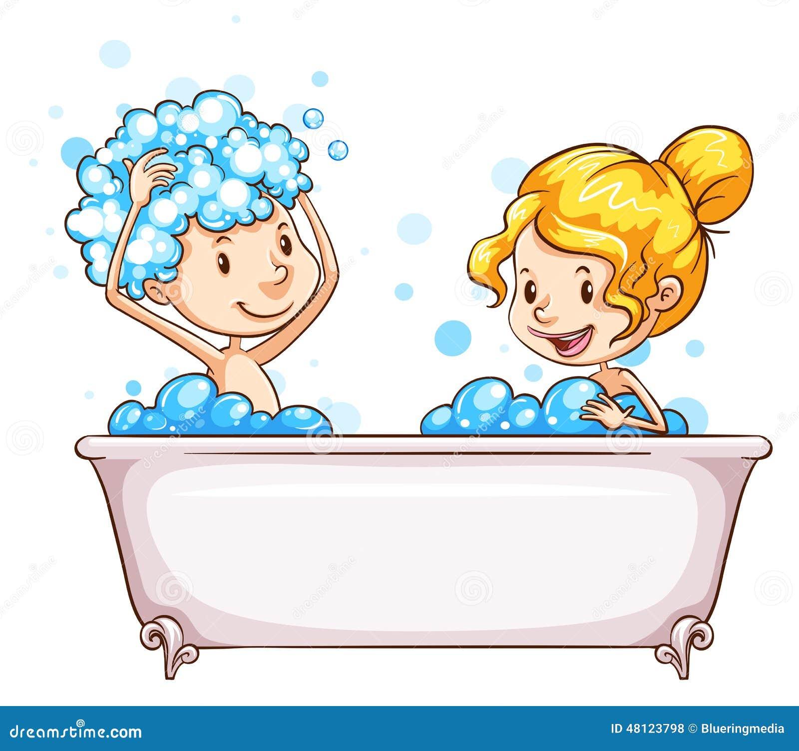 Une fille et un gar on la baignoire illustration de vecteur image 48123798 - Disegno di un bagno ...