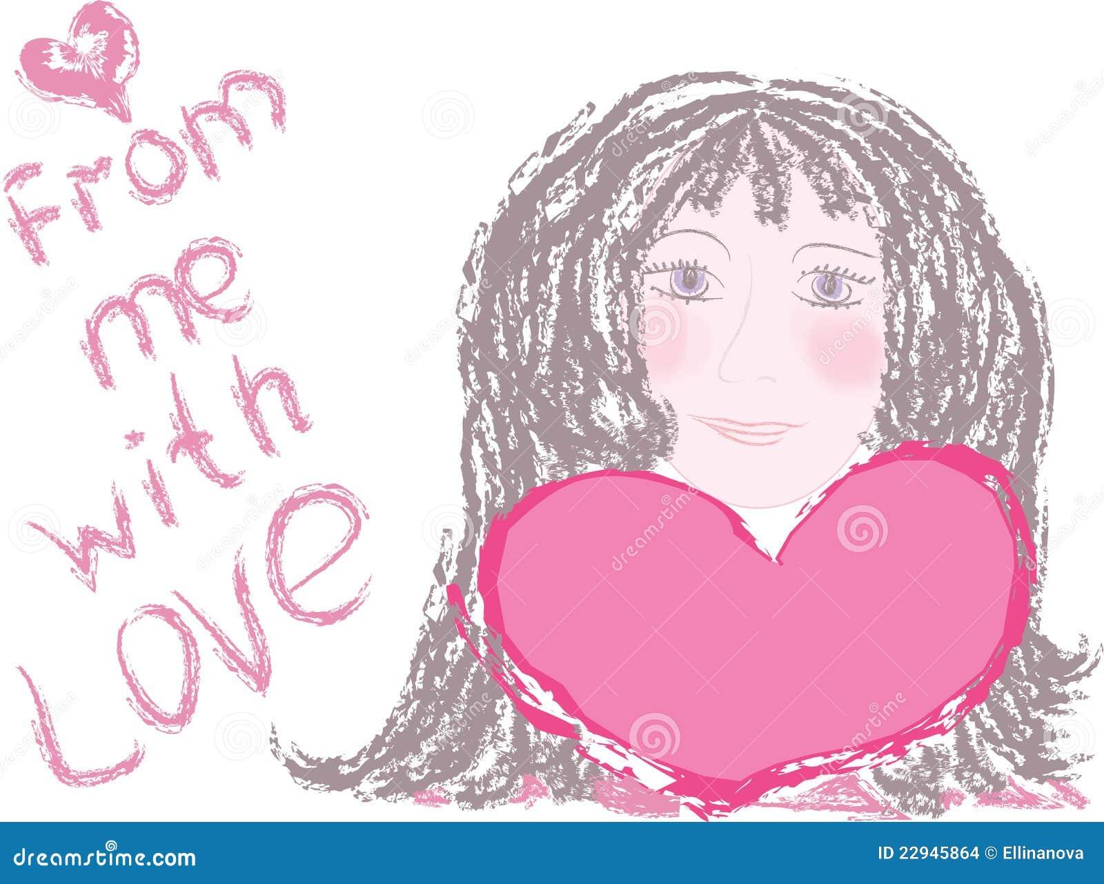 Jeune fille tenant un coeur rouge Modles des