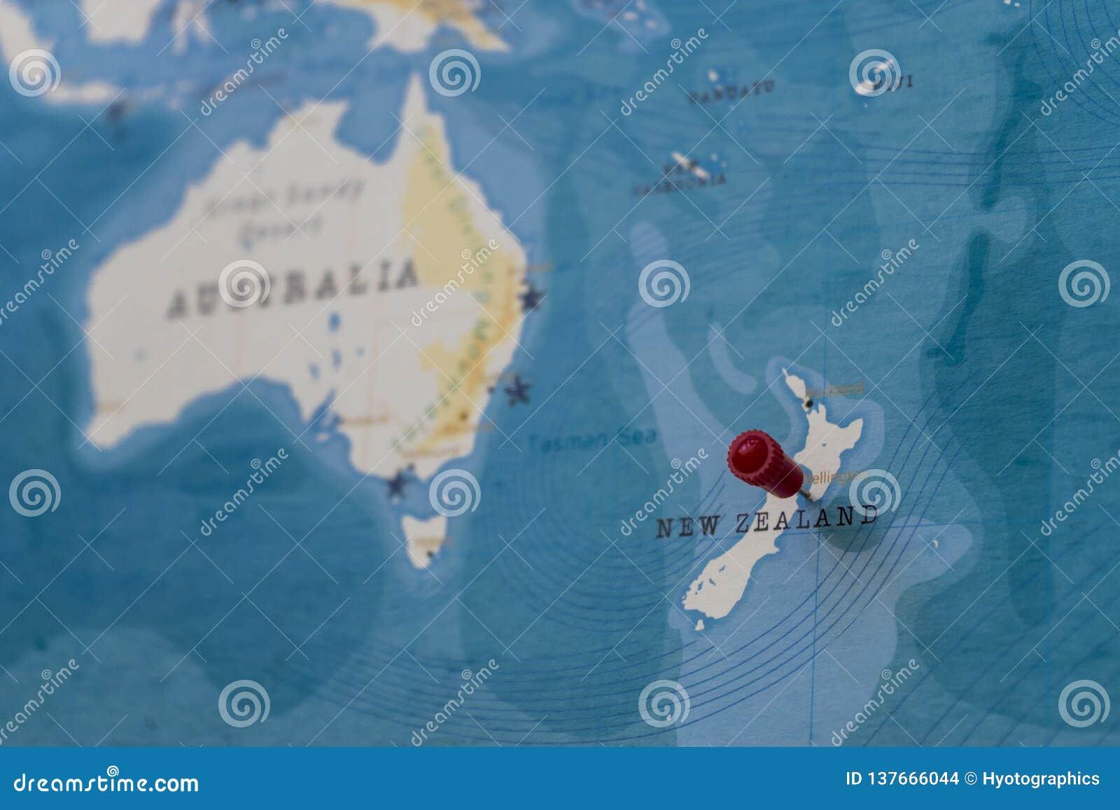 Une goupille sur Wellington, Nouvelle Zélande dans la carte du monde