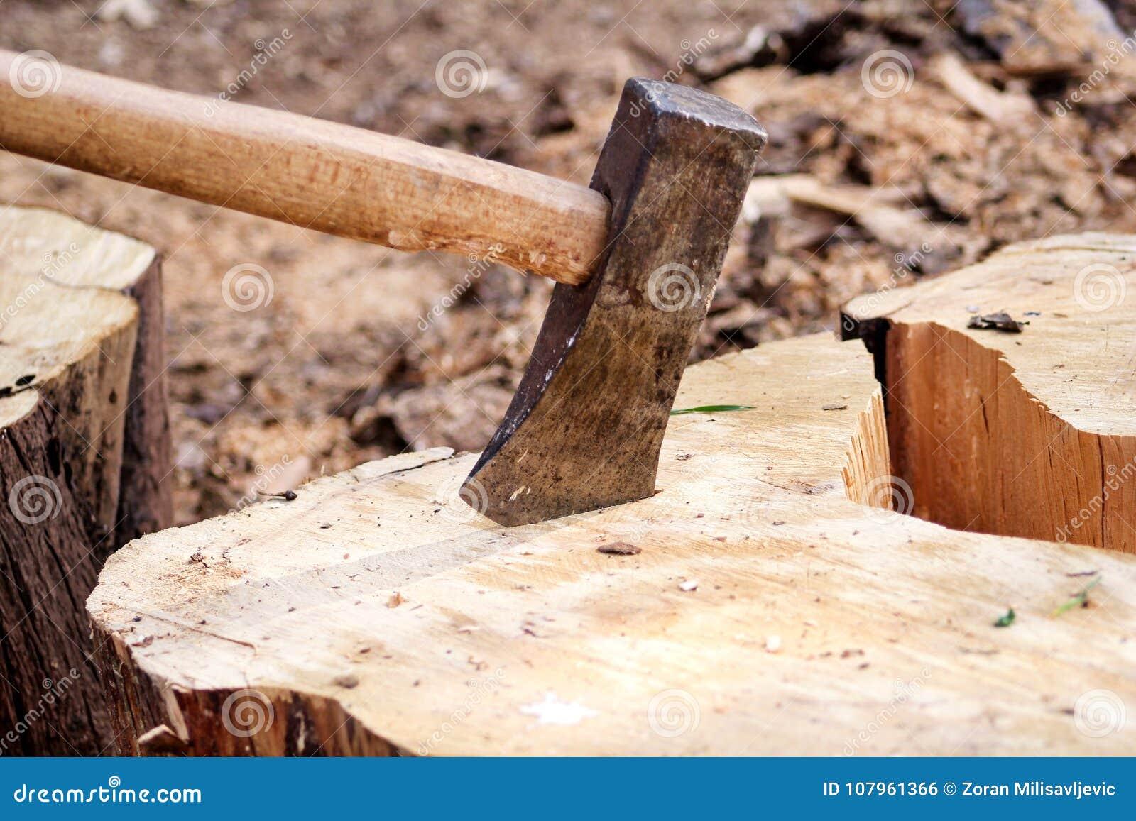 Une hache sur un bois, rondin d arbre Une hache a collé dans un avant d identifiez-vous d une pile de bois, prépare pour le hacha