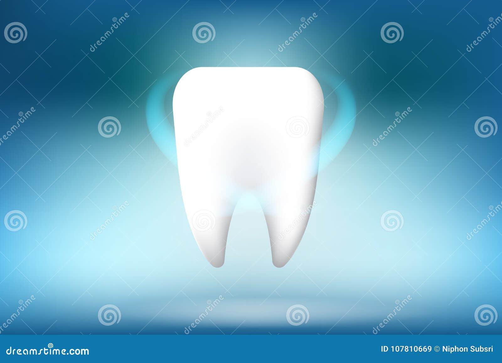 Une illustration de blanchiment de caractère de dent sur le fond bleu