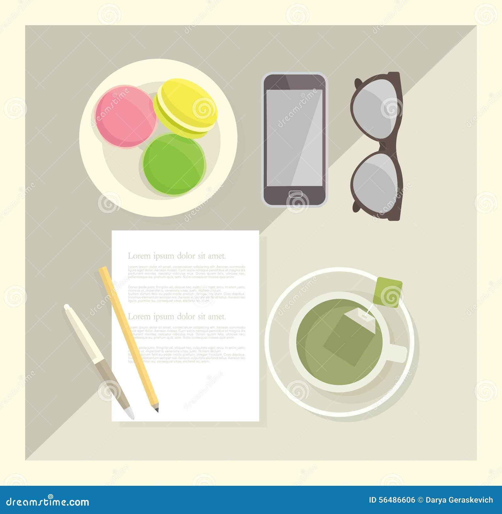 Une illustration de vecteur des fournitures de bureau, du thé et des macarons