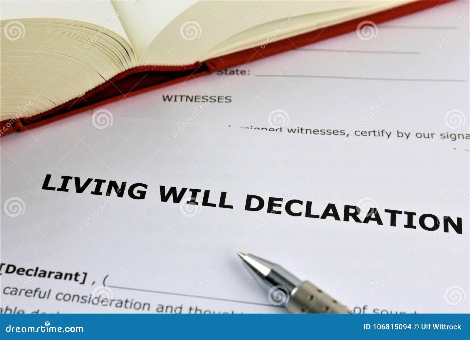 Une image de concept d une déclaration de testament de vie