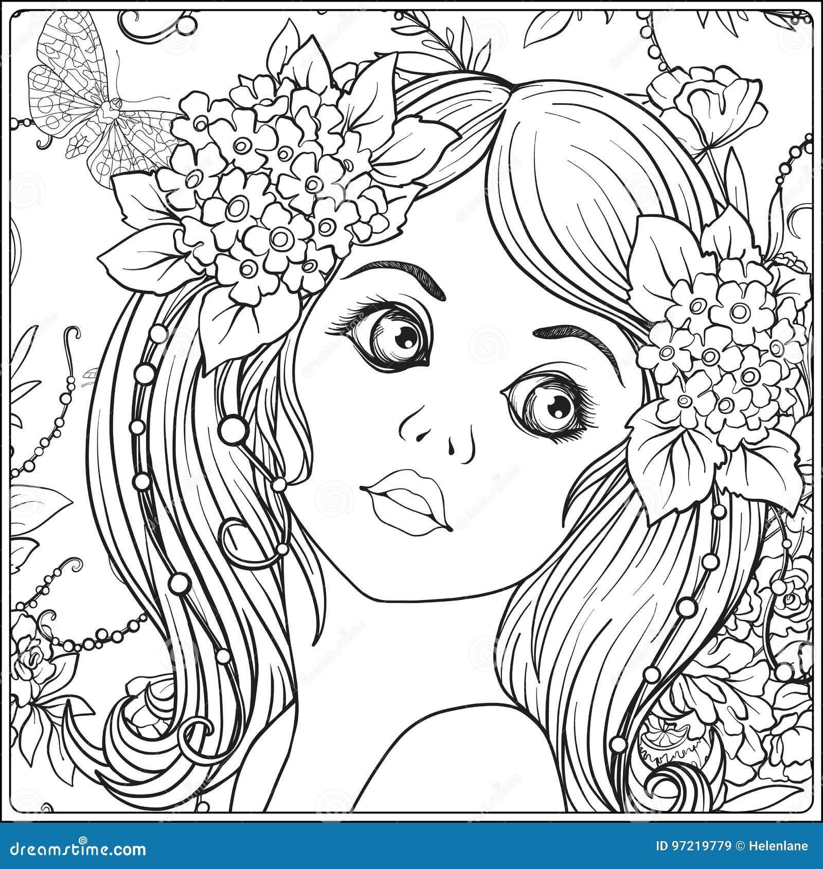 Coloriage Guirlande Fleurs.Une Jeune Belle Fille Avec Une Guirlande Des Fleurs Sur Sa