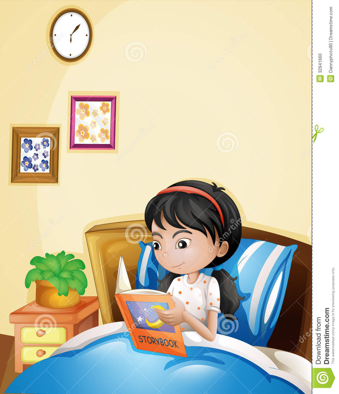 une jeune dame lisant livre de contes dans son lit illustration stock image 32941660. Black Bedroom Furniture Sets. Home Design Ideas