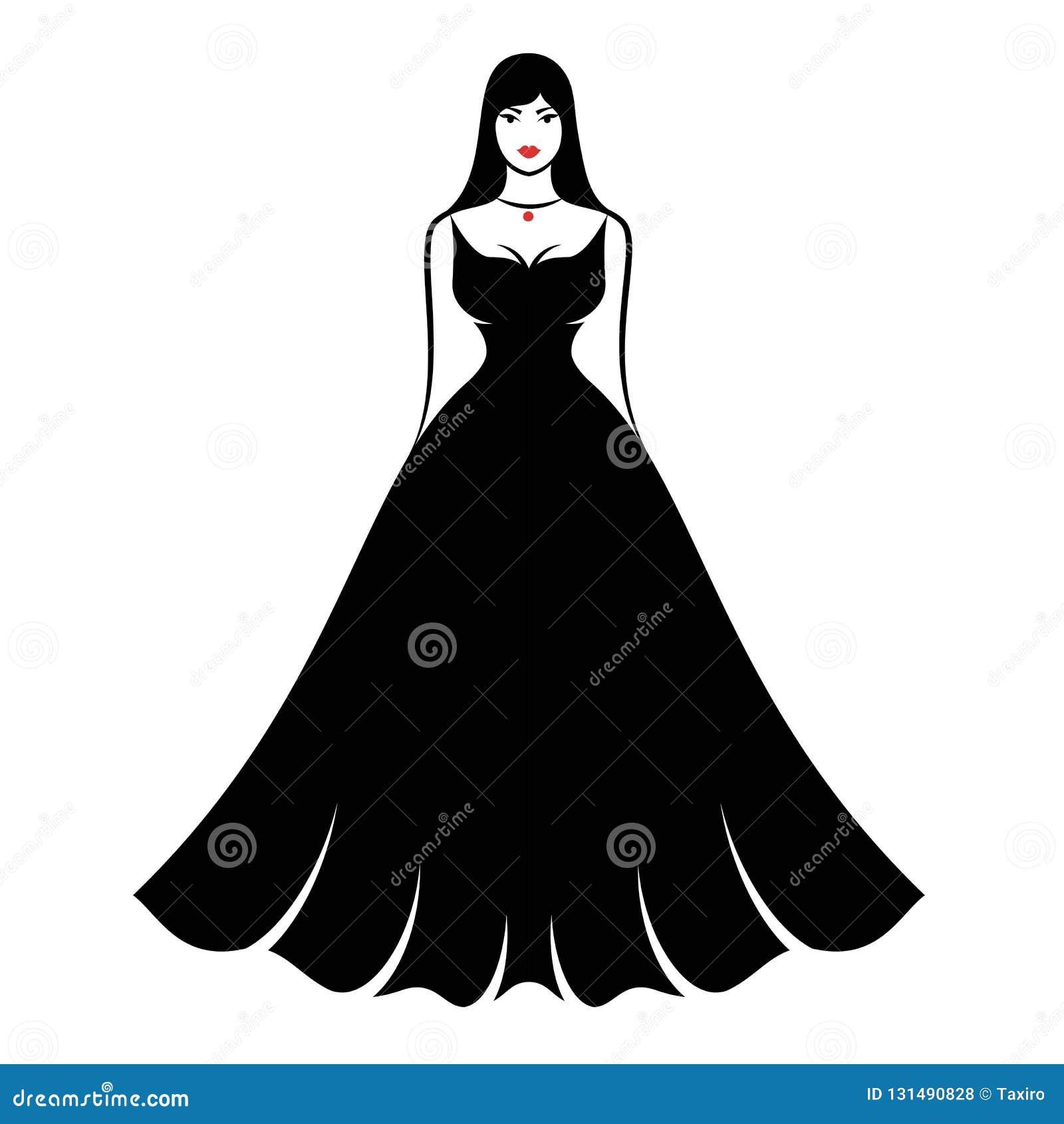 Une jeune femme plein-figurée dans une longue robe égalisante noire pelucheuse élégante