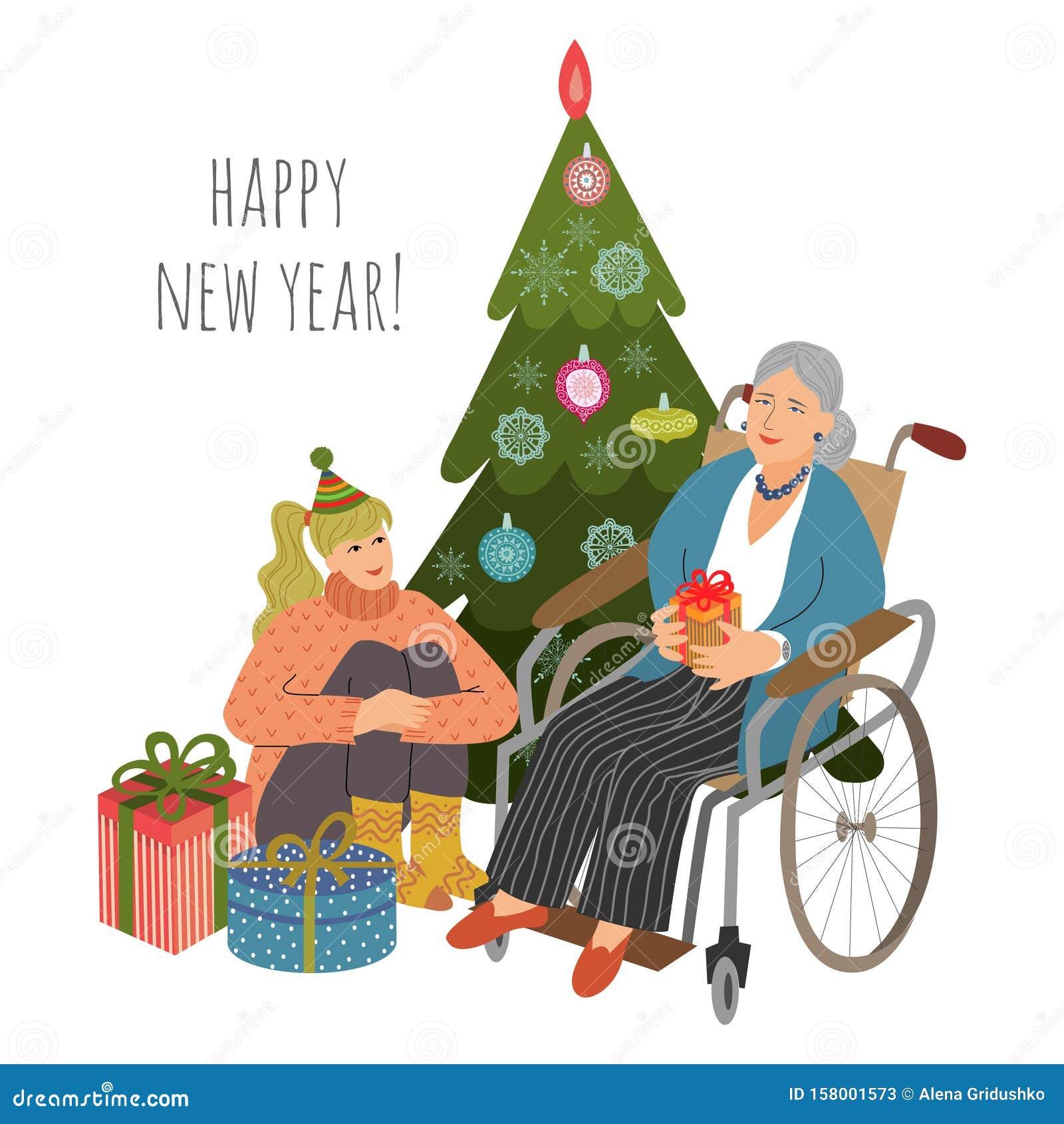 Une Jeune Fille Bénévole Donne Un Cadeau De Noël à Une Femme âgée