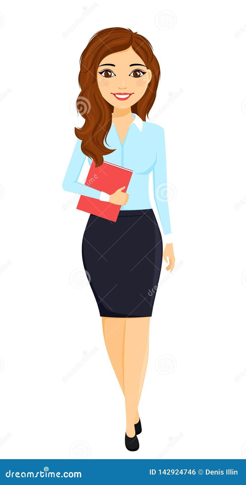 Une jeune fille dans un costume avec un dossier dans sa main Travail de bureau caractère Affaires et finances