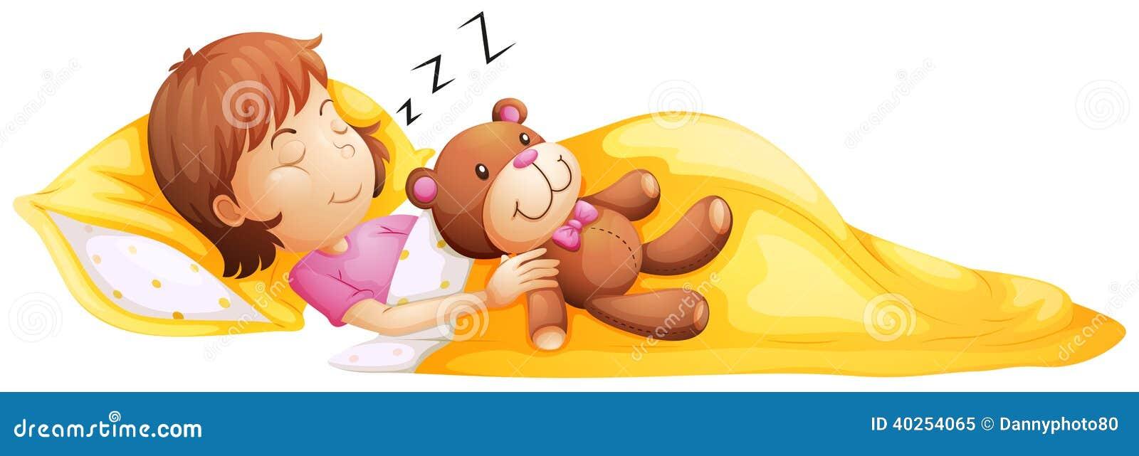 Une jeune fille dormant avec son jouet
