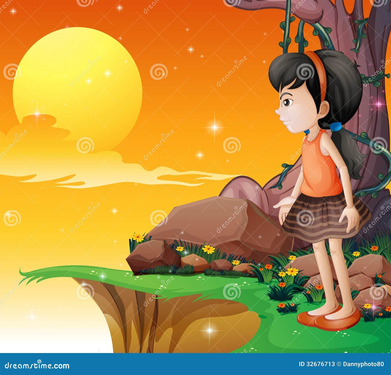 Une jeune fille observant le fullmoon à la falaise