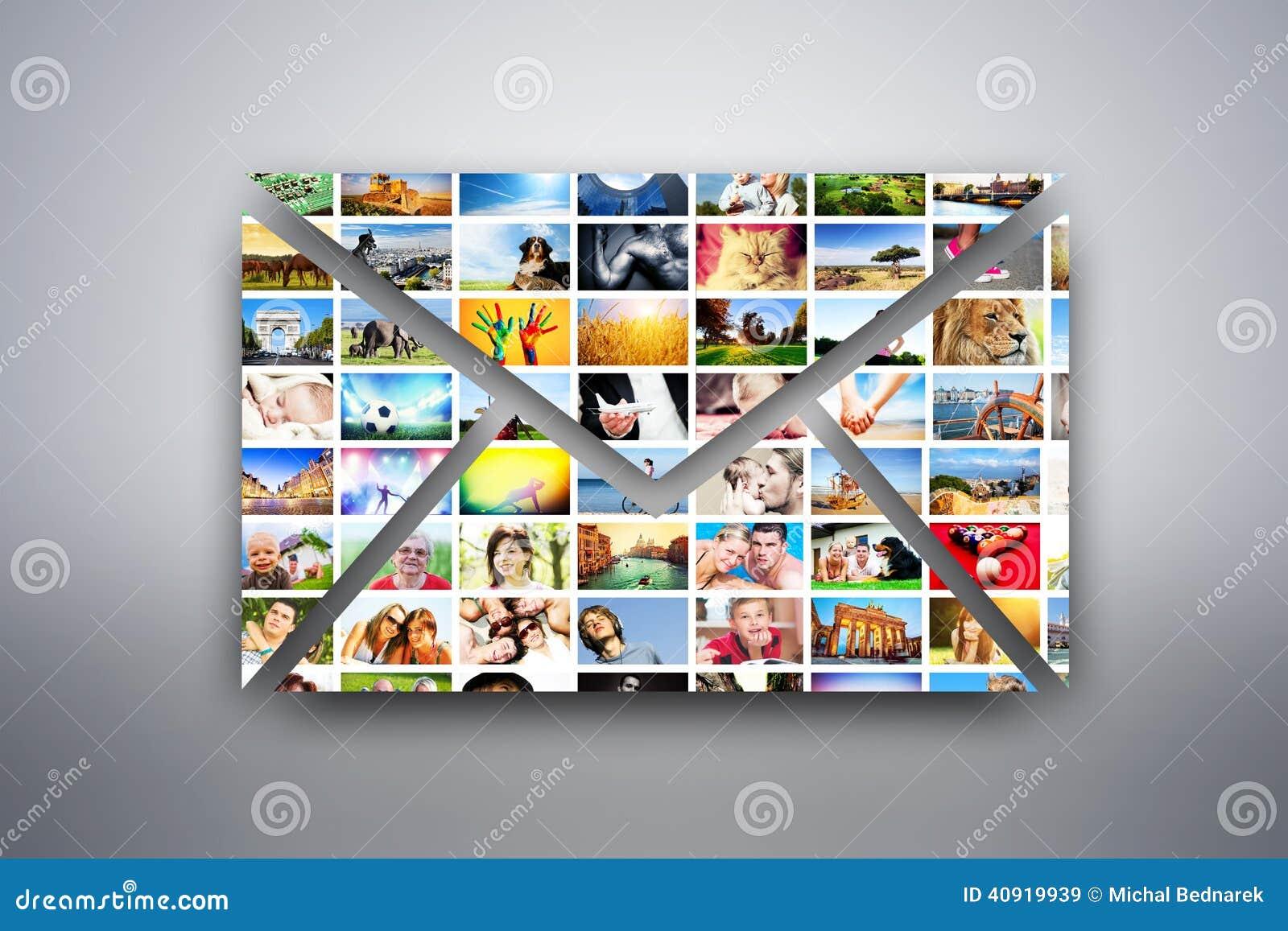 Une lettre, élément de conception d email fait de photos des personnes, animaux et endroits