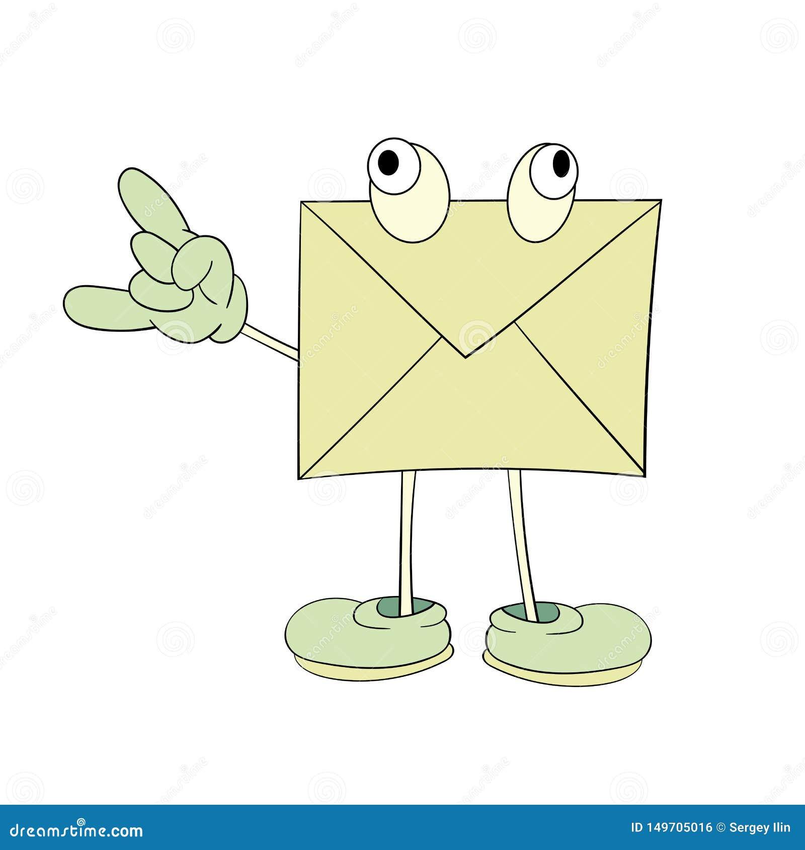 Une lettre jaune avec des yeux montre une émotion positive, un dessin de bande dessinée, une icône, une caricature