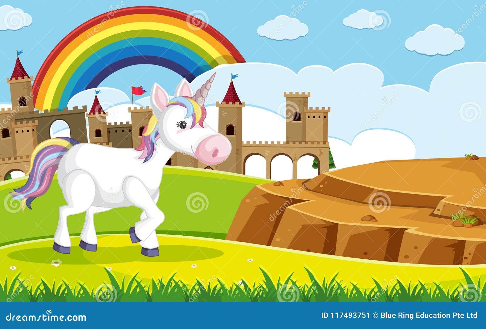 Une licorne devant le château