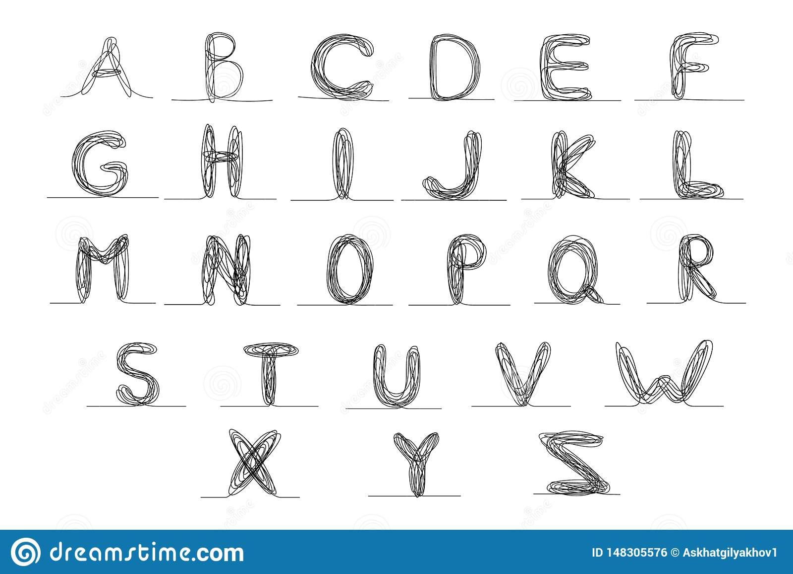 Une ligne continue alphabet anglais, illustration de vecteur