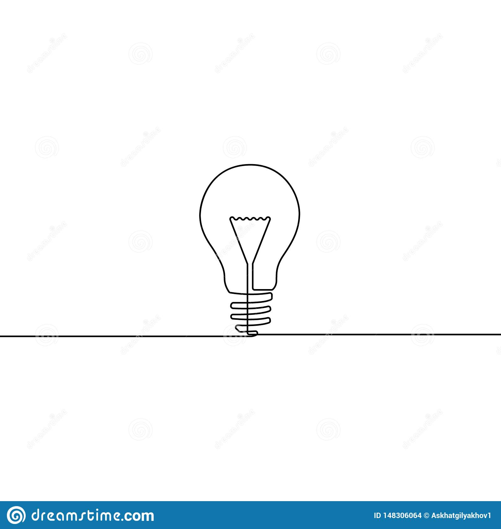 Une ligne continue ampoule - symbole d idée