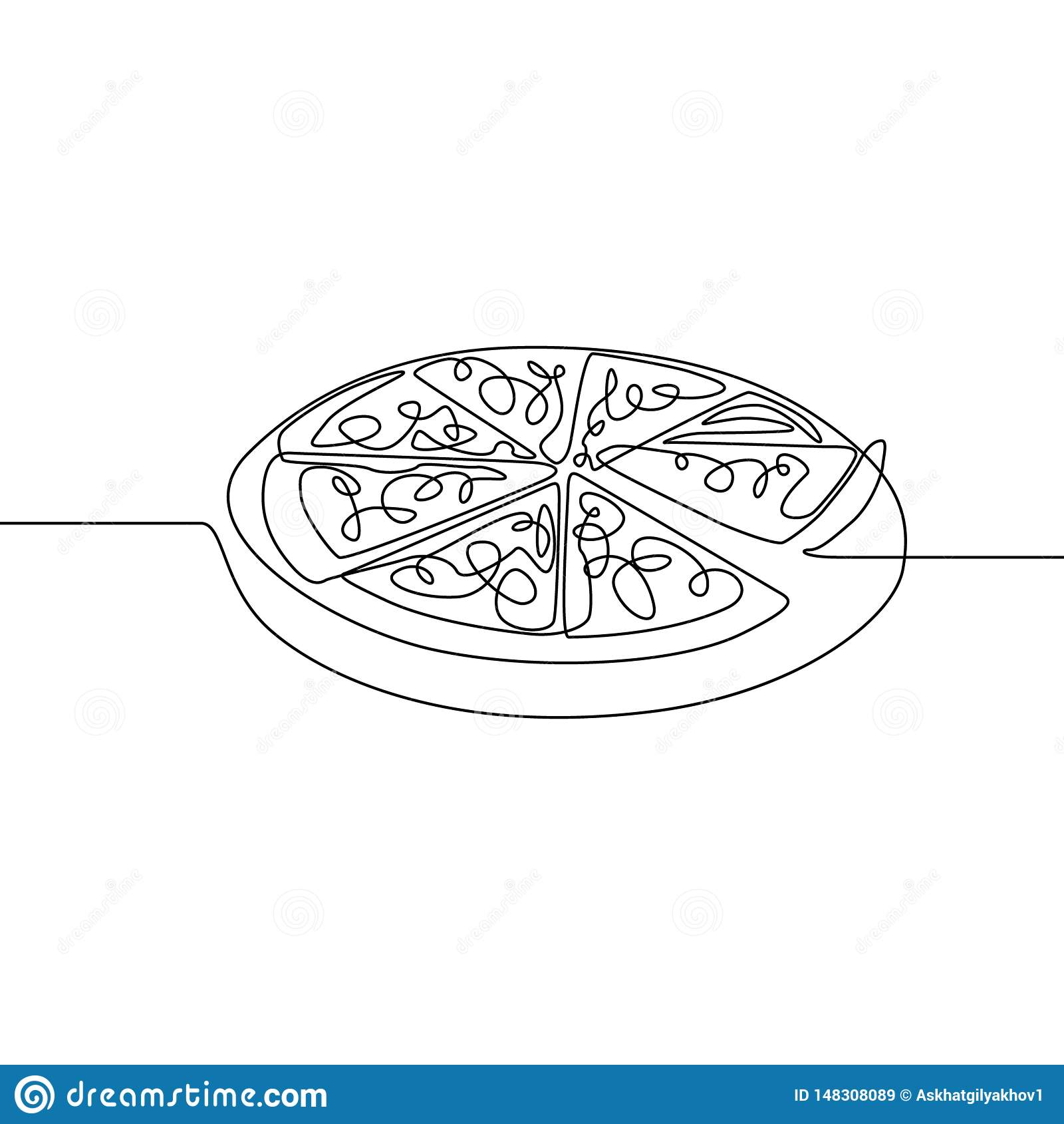 Une ligne continue pizza Aliments de pr?paration rapide Illustration de vecteur