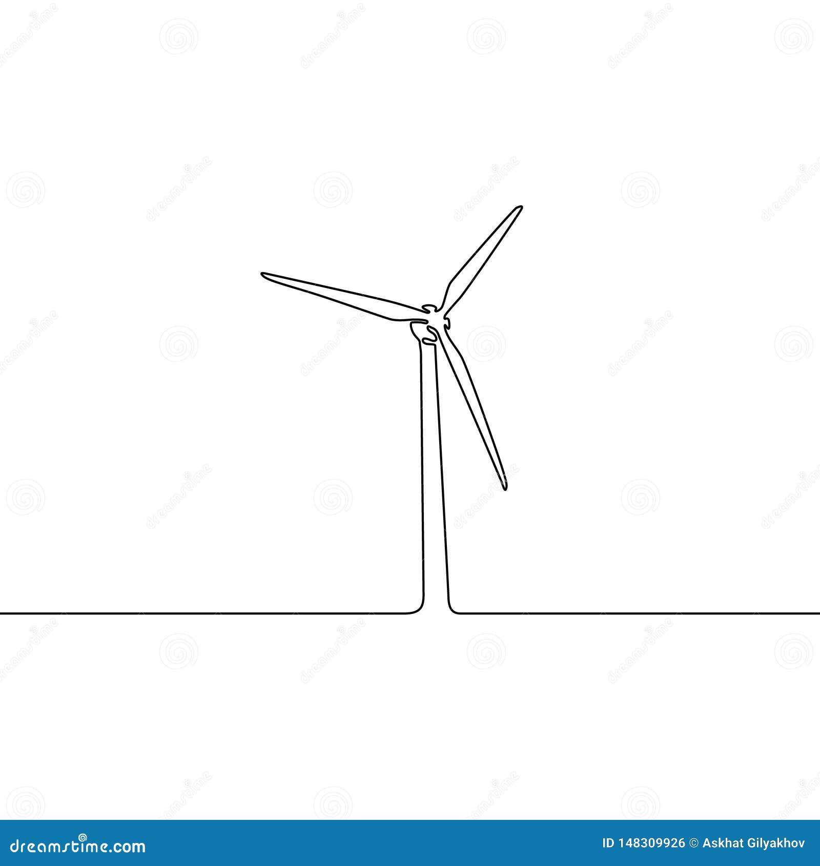 Une ligne continue turbine de vent Illustration de vecteur