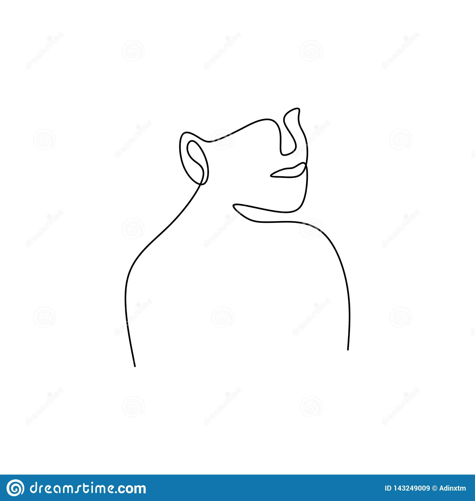 Une Ligne Dessin Continu De La Conception Minimaliste D Abrege Sur Visage Illustration De Vecteur Illustration Du Continu Visage 143249009