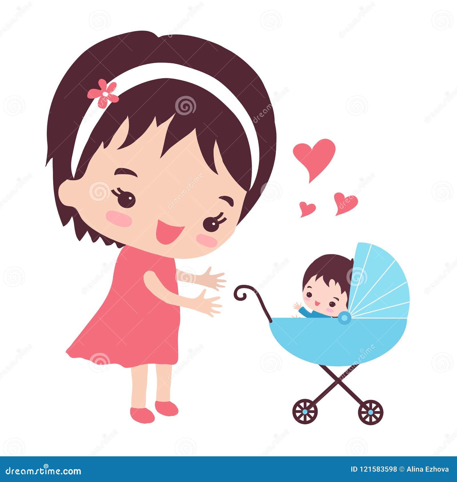 Une mère heureuse marche avec une poussette