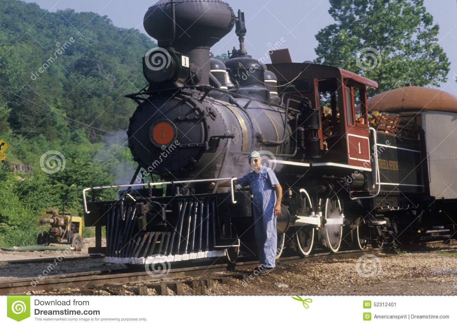 Une machine à vapeur à une station de train dans Eureka Springs, Arkansas