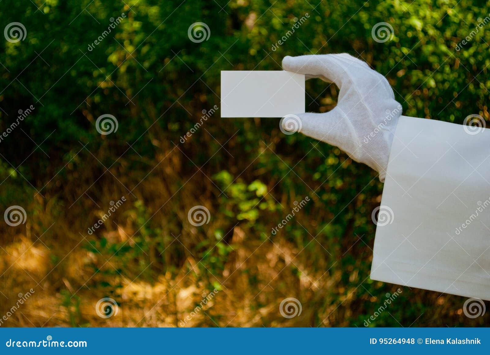 Main Dun Serveur Un Gant Blanc Et En Tenant Une Serviette Blanche Carte De Visite Professionnelle Rectangulaire Livre
