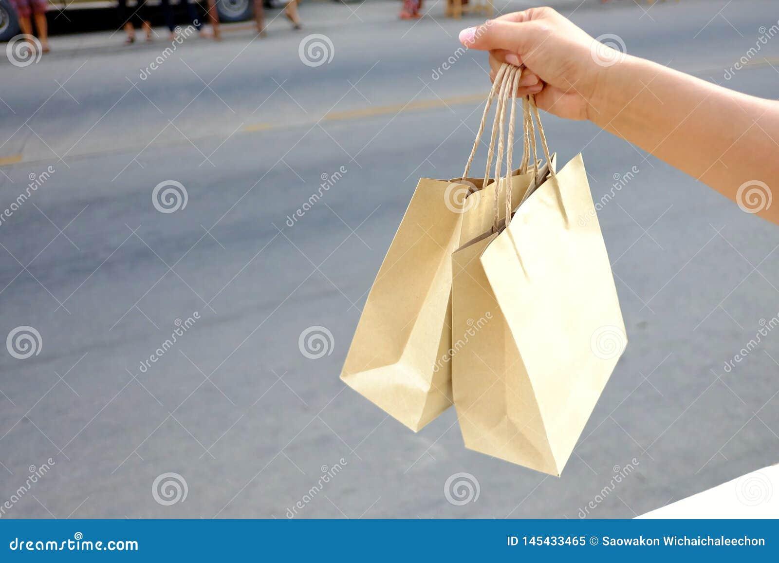 Une main femelle tenant les sacs bruns avec le fond de trottoir