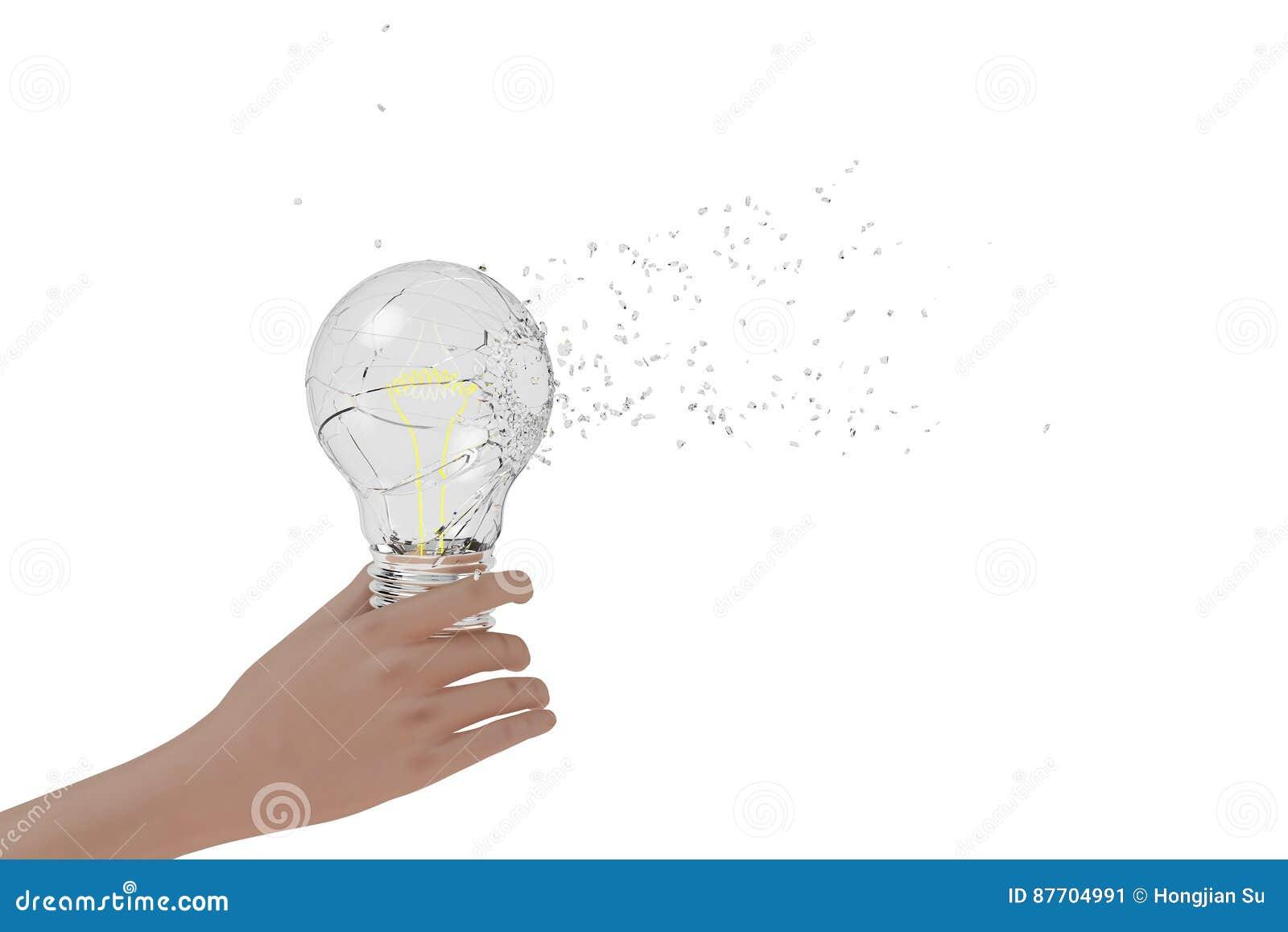 Une main tenant une ampoule de explosion, rendu 3D