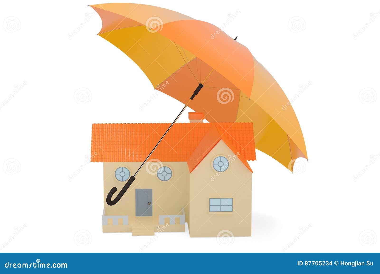 Une maison avec le parapluie, illustration 3D