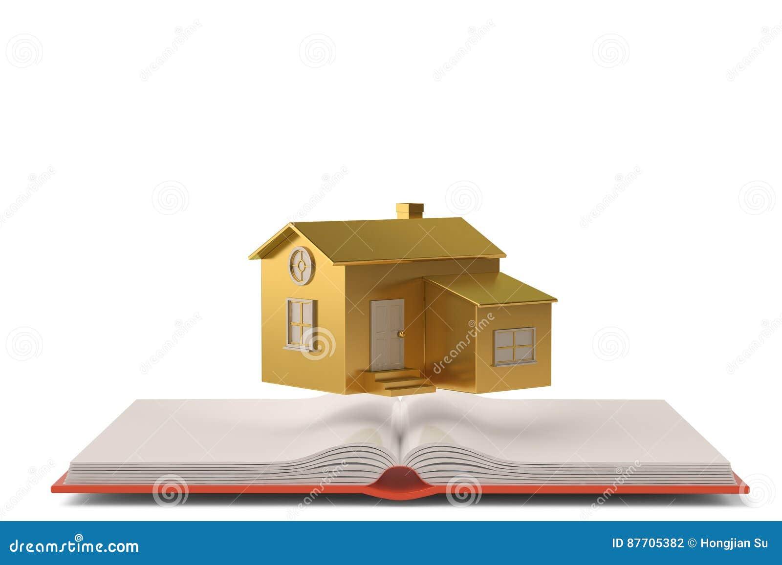 Une maison d or sur le livre illustration 3D