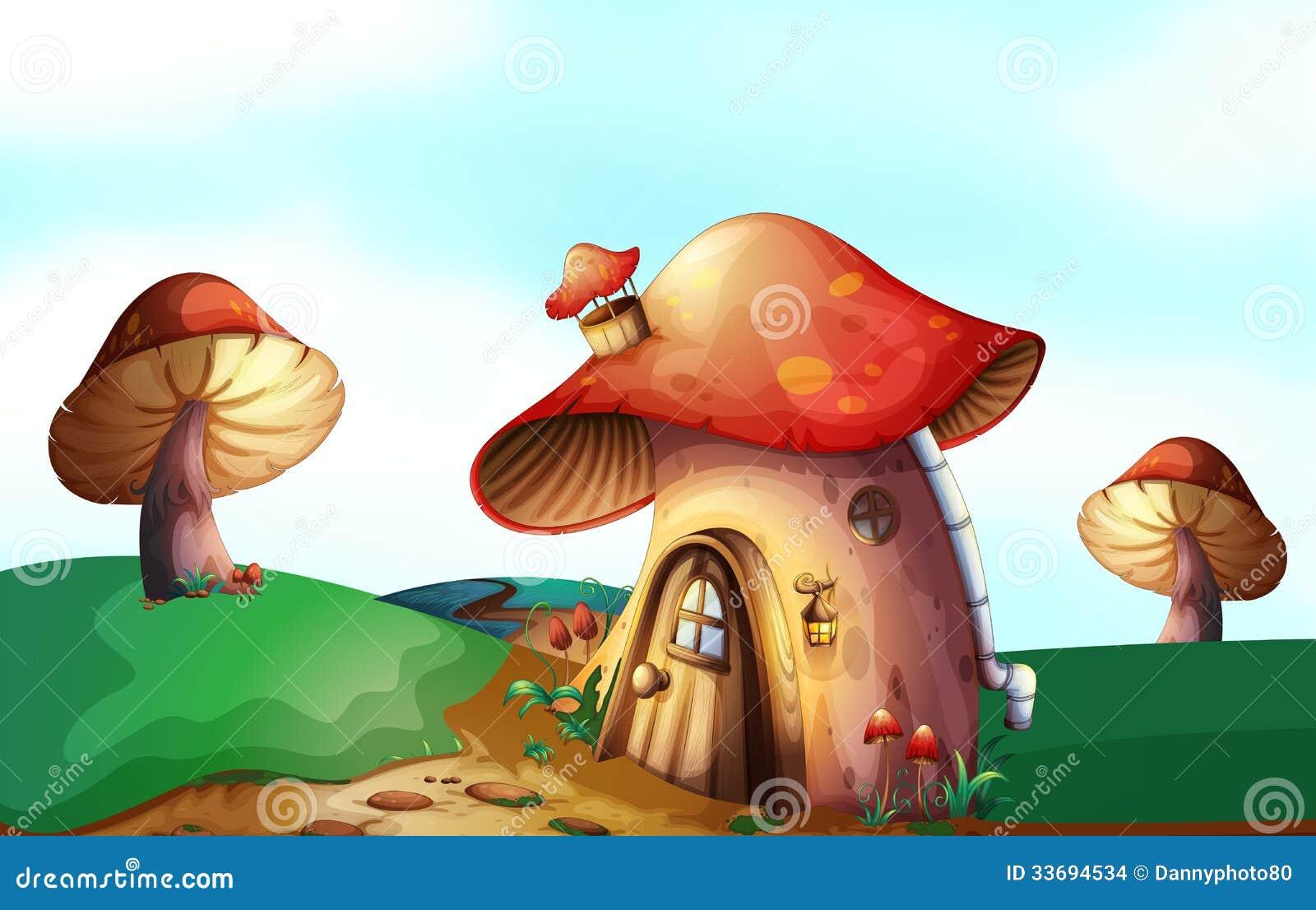 une maison de champignon en haut de la colline images. Black Bedroom Furniture Sets. Home Design Ideas