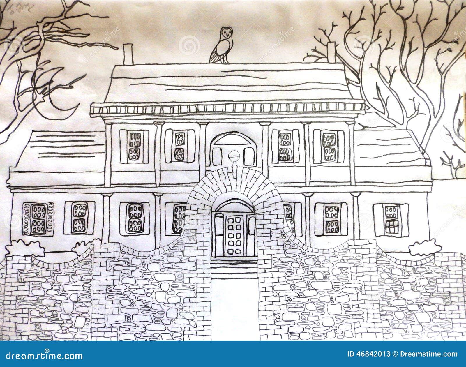 Une maison hant e image stock image du hant manoir - Dessin de maison hantee ...