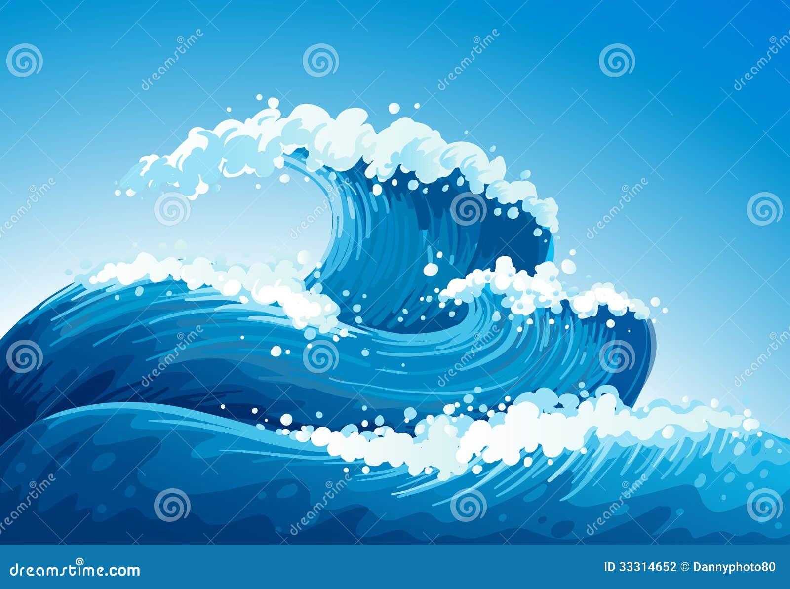 Une mer avec les vagues géantes