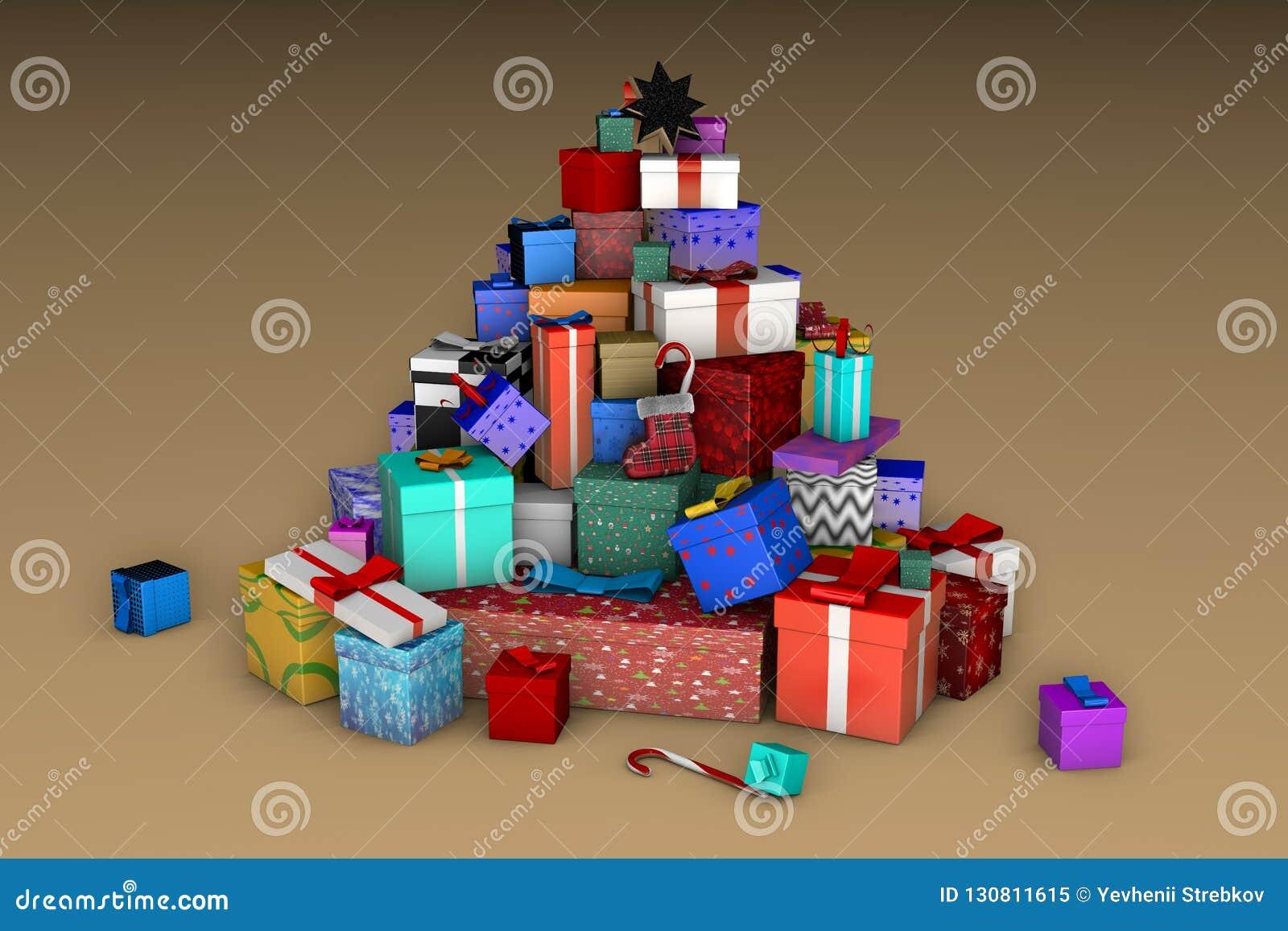 Une montagne des cadeaux de Noël sous forme d arbre de Noël sur un fond beige 3D