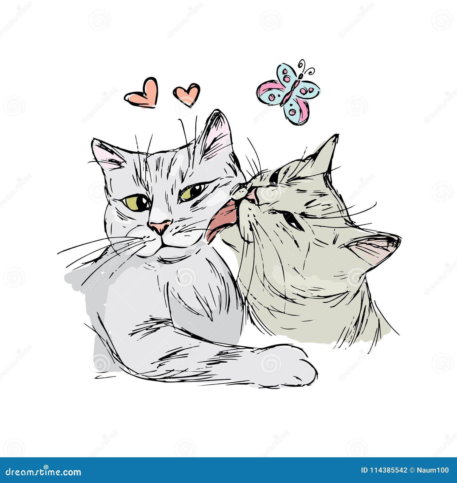 Une paire de chats dans l 39 amour dessin de main d - Dessin sur l amour ...